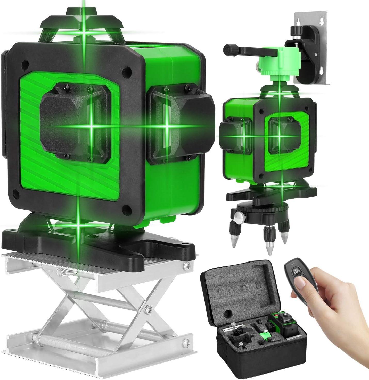 Niveau Laser 360/° KKmoon/® 4D 16 Lignes Outil de Niveau Laser Multifonctionnel Levier /à Spiritueux /à Lignes Horizontales Verticales avec Fonction dauto-nivellement