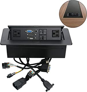 Table Pop Up Power Box-Conference Damped Multimedia Outlet Connection Box,Desktop Pop Up Socket with USB,HDMI,VGA,Audio and 2 Ethernet Port(CAT5E)