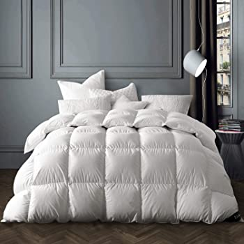 Globon Winter White Goose Down Comforter King Size,Texcote Nano-Treated, 60 OZ, 700 Fill Power, 400 Thread Count 100% Cotton Shell, Down-Proof Hypoallergenic, with Corner Tabs, White