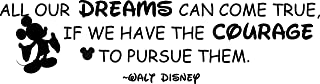 Disney Wall Decor Stickers Vinyl Decals/All Dreams Come True Quote Quotes for Kids Bedroom Cute Disney Disneyland Decor and Decoration for Boys Girls Bedroom Size 6x20 inch