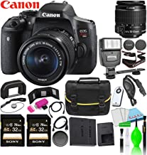 Canon EOS Rebel T6i DSLR Camera w/EF-S 18-55mm f/3.5-5.6 is STM Lens Kit Bundle with (2) Sony 32GB SDXC Card + (2) Canon Batteries + Large Camera Bag + Universal Flash + Deluxe Cleaning Kit and More