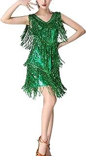 V Neck 1920s Sequin Fringe Charleston Flapper Dance Dresses Costumes