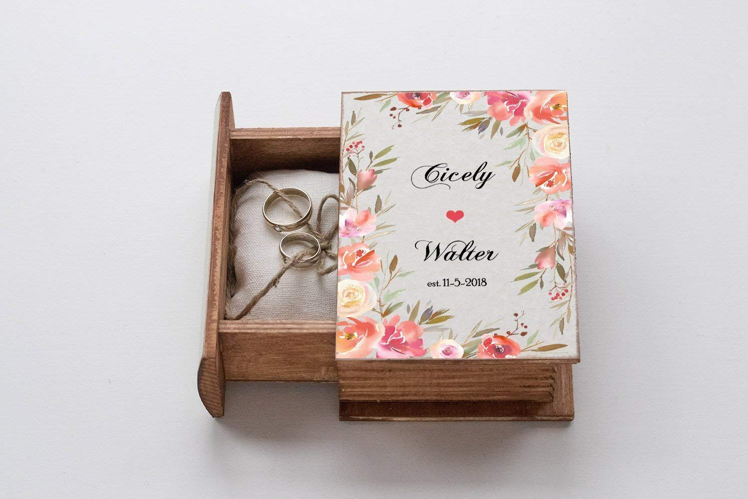 Brand new Personalized sold out wedding box Floral ring Wedding Wreath