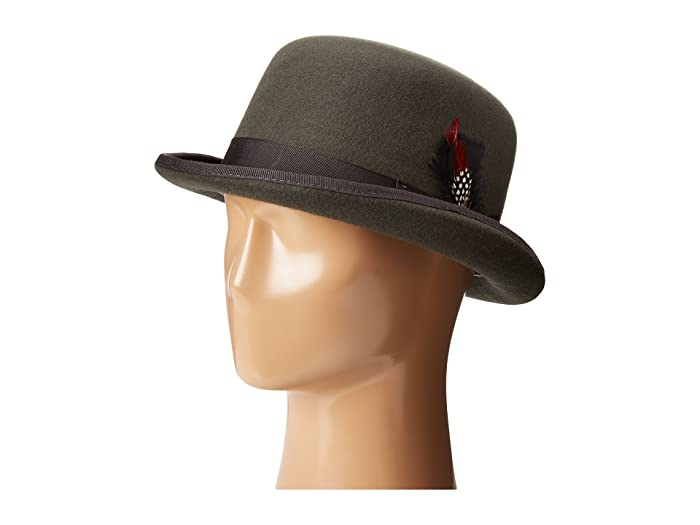 SCALA  Wool Felt Derby Hat with Grosgrain Trim (Charcoal) Caps
