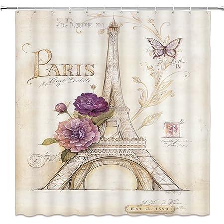 zapatos de tac/ón alto y flor con la torre Eiffel Tela de poli/éster resistente al agua Ba/ño cortina de ba/ño molde a prueba de resistencia con 12 ganchos 180x180cm KOTOM Paris France cortinas de ducha
