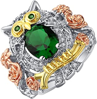 Ginger Lyne Collection Hoot Jeweled Owl CZ Statement Cocktail Bird Ring Teacher Gift