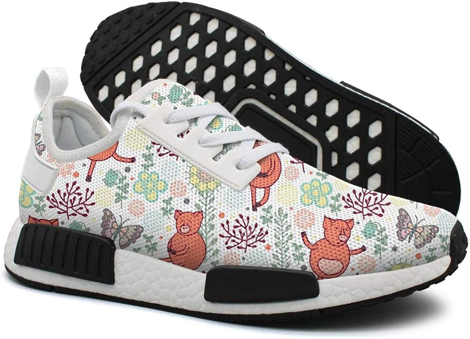 Dancing Pigs with Butterfly On A Meadow Women's Jogger Lightweight Running Sneakers Gym Outdoor Running shoes