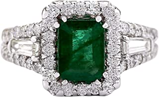 3.3 Carat Natural Green Emerald and Diamond (F-G Color, VS1-VS2 Clarity) 14K White Gold Luxury Engagement Ring for Women Exclusively Handcrafted in USA