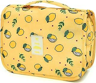 حقيبة سفر معلقة لمستحضرات التجميل من اديجو حقيبة مكياج مضادة للماء من جميع الأحجام للرجال والنساء, , Yellow Lemon - AD-073