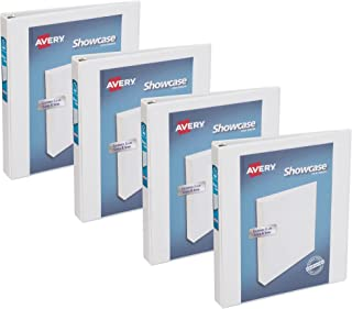 Avery Economy Clear View 3 Ring Binders, 1 Inch Round Rings, 4-Pack of White Binders (22343)
