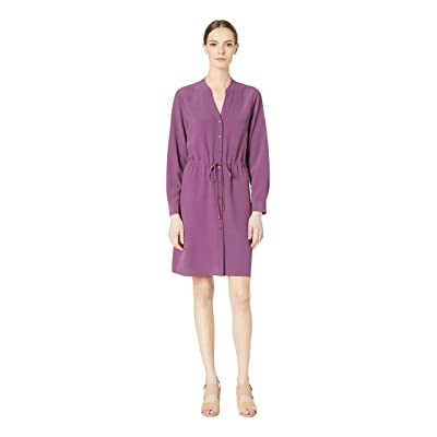 Eileen Fisher Stand Collar Dress with Drawstring (Currant) Women