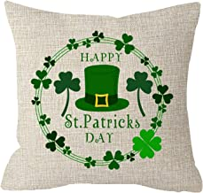 FJPT Throw Pillow Cover Sister Gift Happy St Patricks Day Green Hat Lucky Leaves Shamrock Wreath Beige Cotton Pillowslip for Sofa Bed Stand Size Pillowcase 24x24 Inch