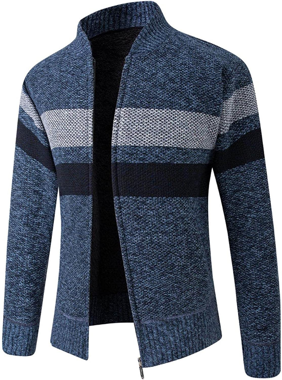 Huangse Mens Sweater Casual Slim Full Zip Thick Knitted Cardigan Stripe Sweaters Crewneck Cardigan Sweater with Pockets