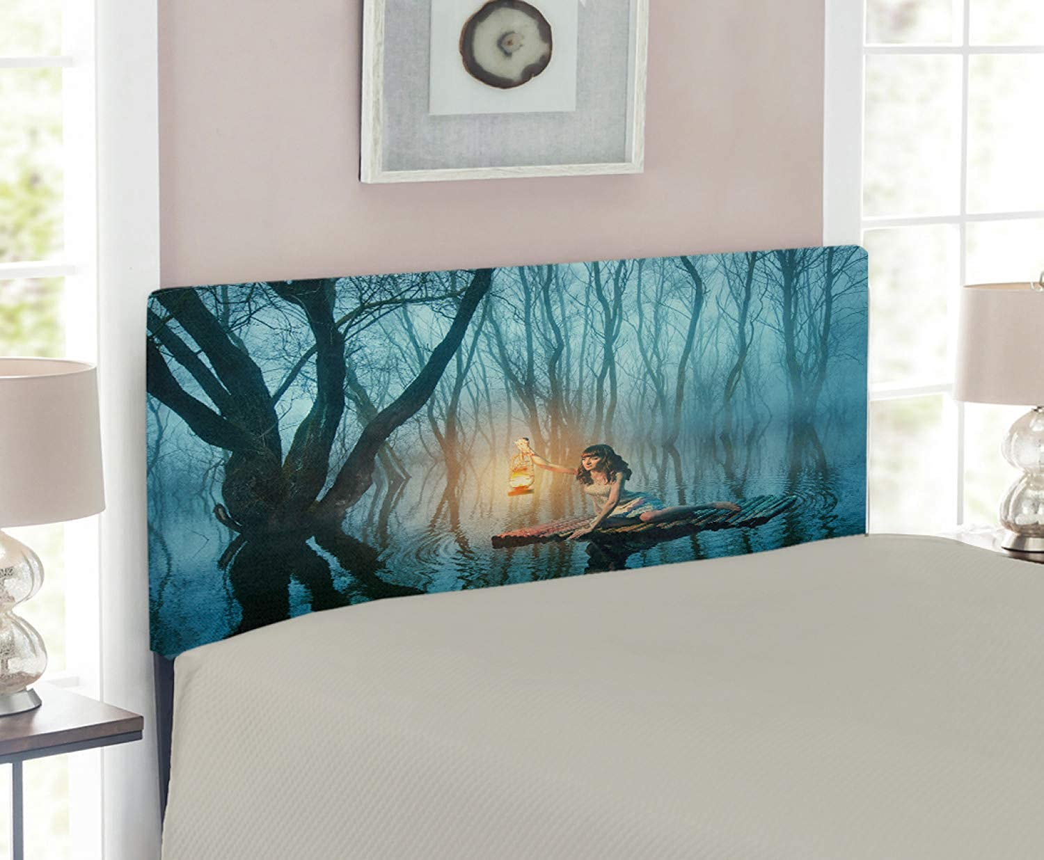 Lunarable Gothic Headboard for Twin Size Bed, Fairy Tale Woman with Lantern Floating on Lake Rustic Dress in Misty Forest, Upholstered Decorative Metal Headboard with Memory Foam, Turquoise Peach