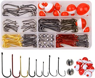 Fishing Tackle Accessories Kit, 215pcs Fishing Gear Tackle Box with Tackle Included, Baitholder Hooks Aberdeen Hooks Fishi...