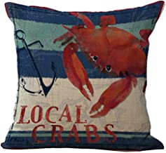 Andreannie Mediterranean Series Crabs and Lobsters Cotton Linen Home Throw Pillow Case Personalized Cushion Cover New Home Office Decorative Square 18 X 18 Inches (Crab)