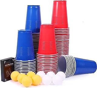 Jeux à Boire, joylink Beer Pong Cup Set Idéal pour Jeu Américain de Beer Pong Tasses Réutilisable Rouges et Bleues 480ml B...
