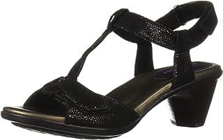 Aravon Women's Medici T Strap Sandal, Black, 10 D US