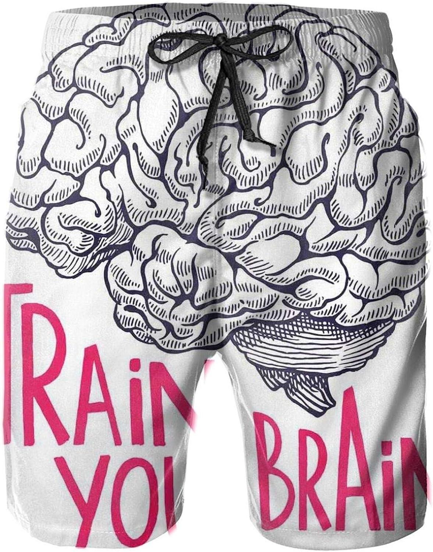 Positive Quote On Human Brain Intelligence Head Skull Humor Modern Image Art Drawstring Waist Beach Shorts for Men Swim Trucks Board Shorts with Mesh Lining,L