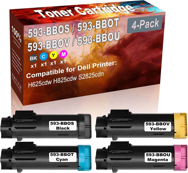 4-Pack (BK+C+Y+M) Compatible H625cdw H825cdw S2825cdn Laser Printer Toner Cartridge (High Capacity) Replacement for Dell 593-BBOS 593-BBOT 593-BBOV 593-BBOU Printer Toner Cartridge