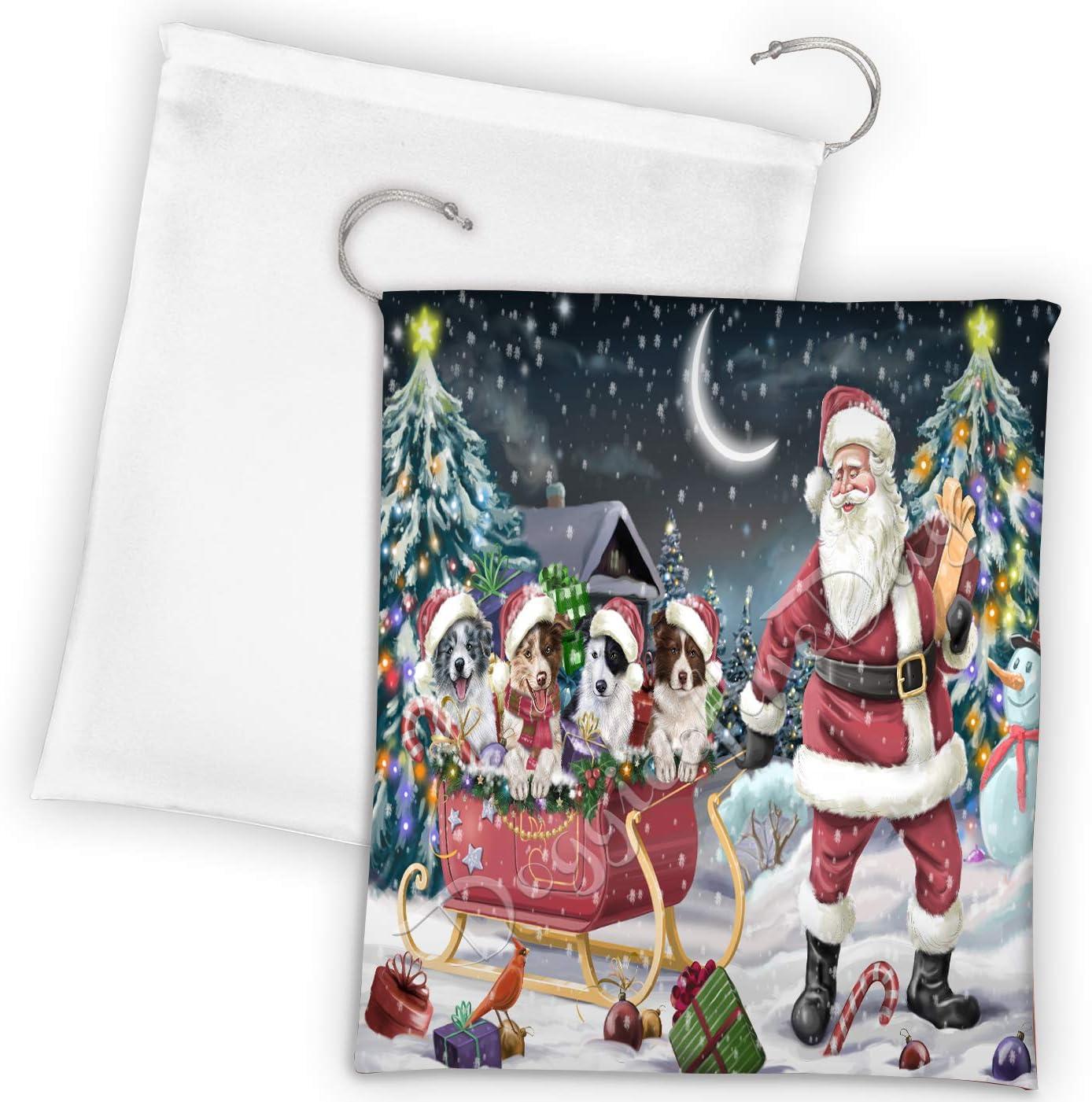 Santa Sled Dogs Christmas Happy Draw Border Collie Holidays National Ranking TOP6 uniform free shipping