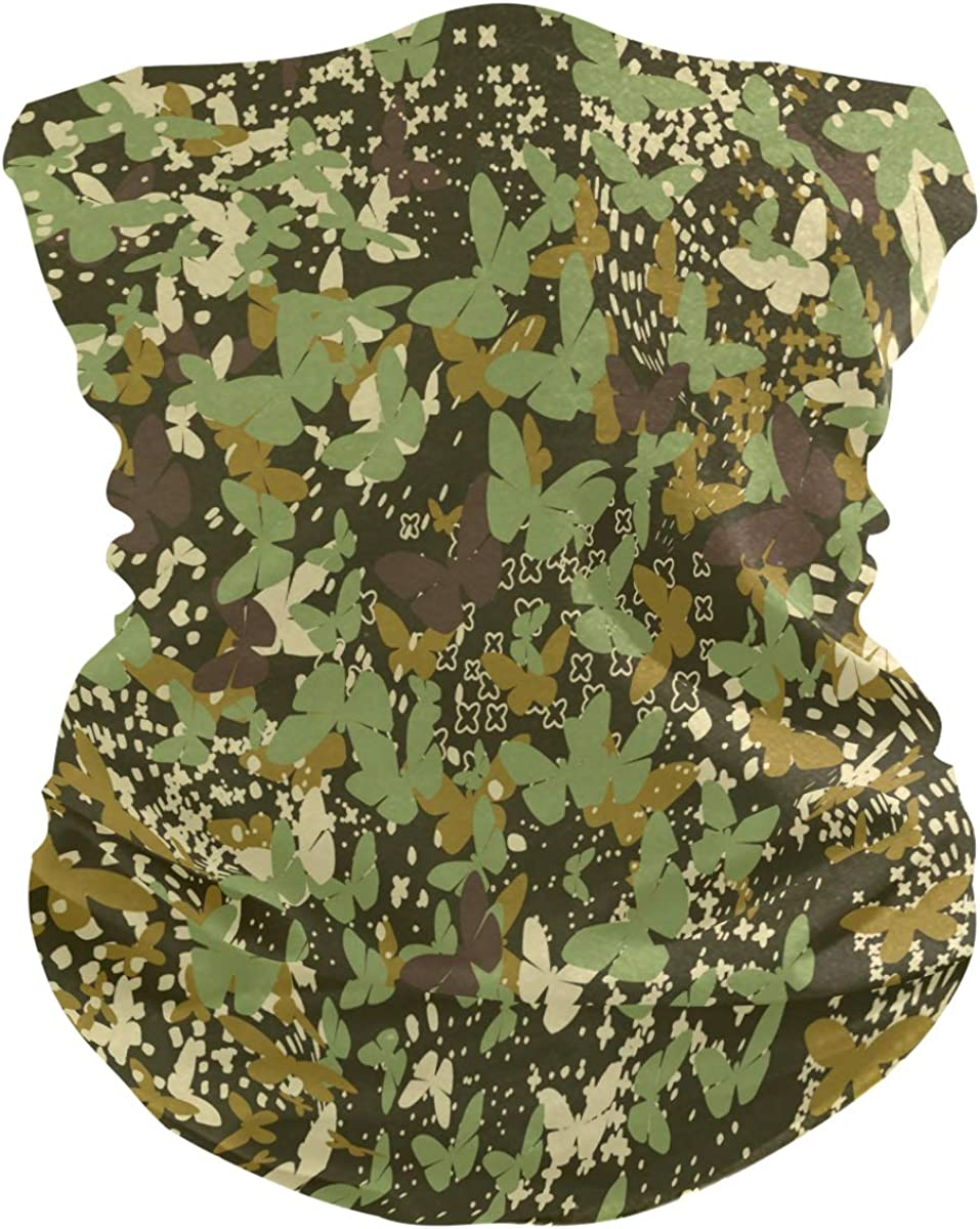 SUABO Neck Gaiter for Women Men Butterflies Camouflage Face Sun Scarf Wrist Band Bandanas for Dust, Outdoors, Sports