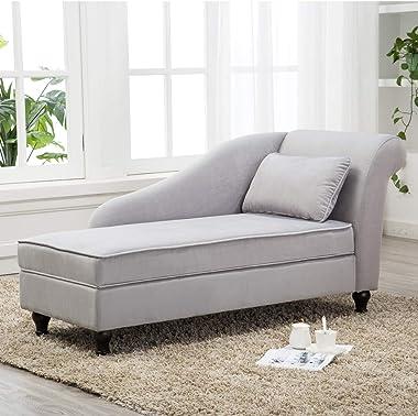 Storage Chaise Lounge Indoor Upholstered Sofa Recliner Lounge Chair for Living Room Bedroom Gray Velvet (Right Armrest)