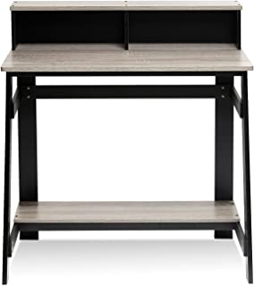 Furinno 14054BK/GYW Simplistic A Frame Computer Desk, Black/French Oak Grey