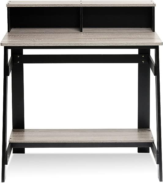 Furinno 14054BK GYW 简单化 A 框架电脑桌黑色橡木灰色