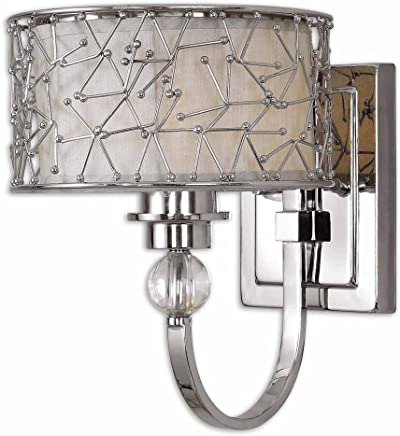 Uttermostブランドン1ライトニッケルメッキ壁取り付け用燭台、ニッケルメッキメタル