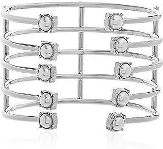 Steve Madden Women's Alloy Pearl Multi Layer Bracelet, 6.5 Inch - SMB463544RHP,Silver
