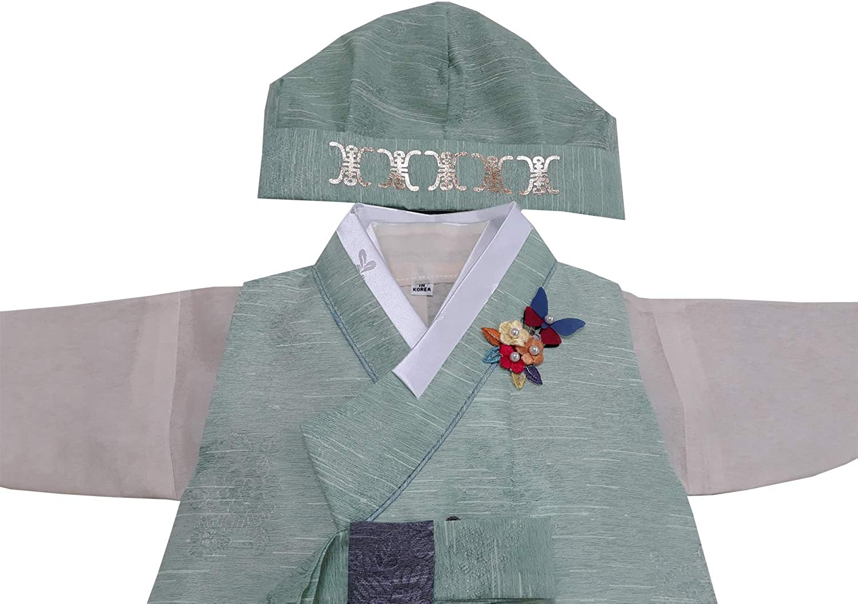 100 Day Birth Korea Baby Boy Hanbok Traditional Dress Outfits Celebration Party Green Set