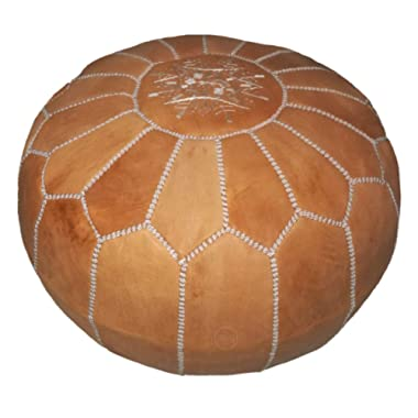 Moroccan leather pouf, handmade ottoman poof for living room furniture and home decor, floor footstool hassock, boho round chair foot rest stool pouffe, light Cognac with White Stitching