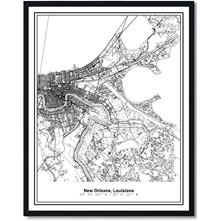 Bird/'s Eye View 1885 New Orleans Lousiana Vintage Style City Map 24x36