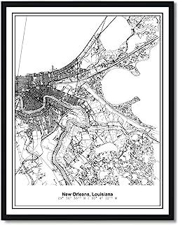 Susie Arts 11X14 Unframed New Orleans Louisiana Metropolitan City View Abstract Street Map Art Print Poster Wall Decor V280