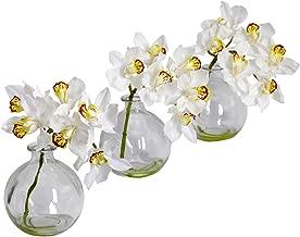 Nearly Natural 4797 Cymbidium with Vase Silk Flower Arrangement, White, Set of 3