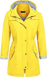 UNibelle Rain Jacket Women Striped Lined Hooded Lightweight Raincoat Active Outdoor Waterproof Windbreaker S-XXL