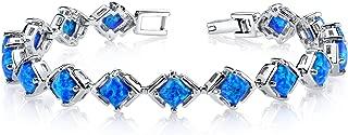 Created Blue Opal Tennis Bracelet Sterling Silver Princess Cut 5.50 Carats