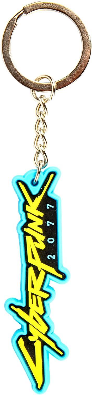 JINX Cyberpunk 2077 Logo Rubber Keychain, Multi-Colored, 2.76