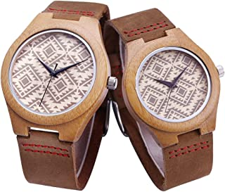 Mens Women Wood Watch, Natural Bamboo and Sandalwood with Quartz Movement, Genuine Leather Strap