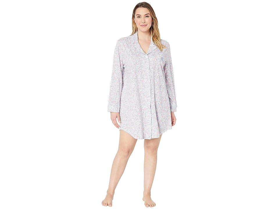 LAUREN Ralph Lauren Plus Size Knit Notch Collar Sleepshirt (Multi Floral Print) Women