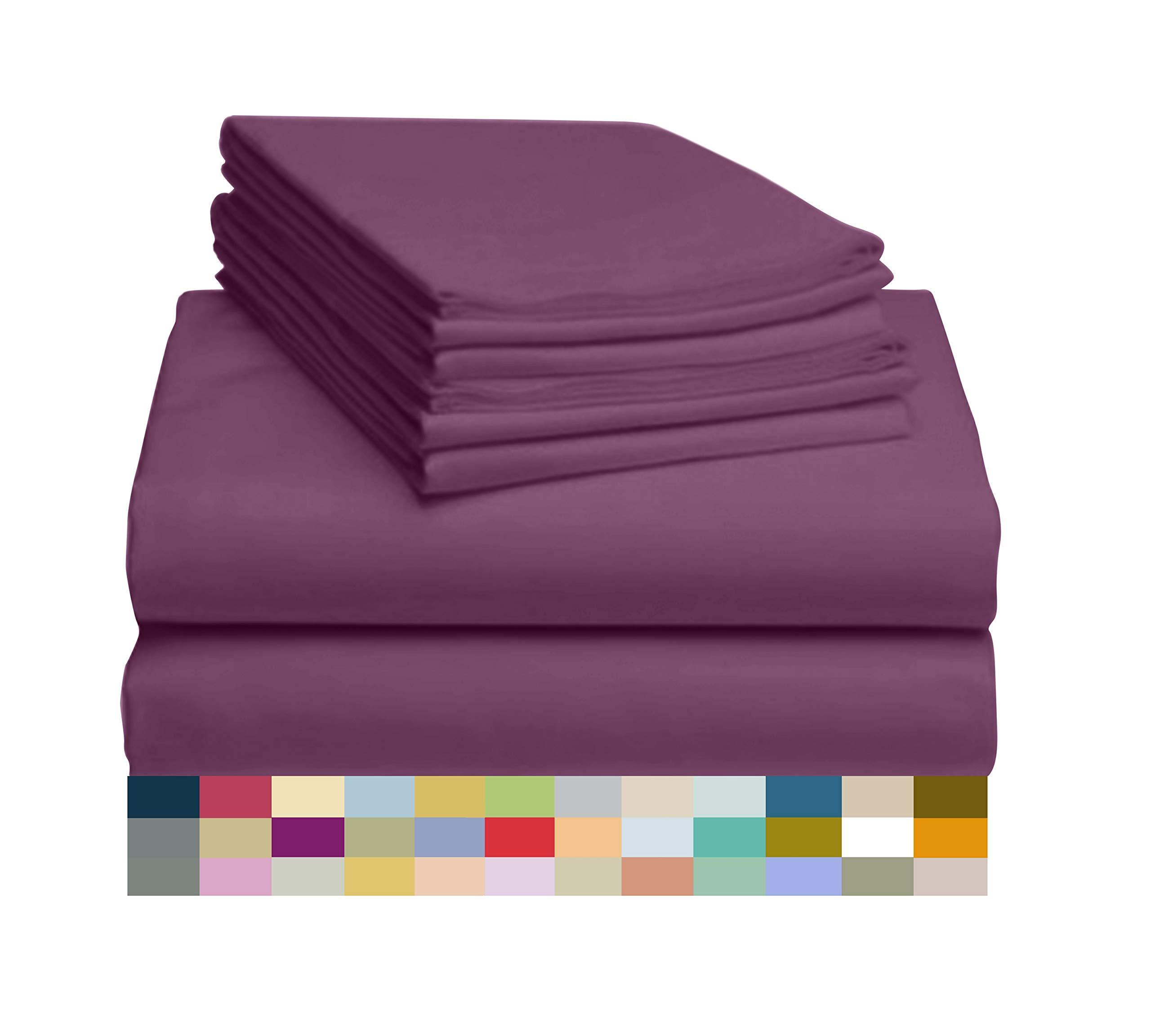 LuxClub 4 PC Sheet Set Bamboo Sheets Deep Pockets 18 Eco Friendly Wrinkle Free Sheets Hypoallergenic Anti-Bacteria Machine Washable Hotel Bedding Silky Soft - Eggplant Twin