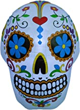 BZB Goods 4 Foot Tall Lighted Halloween Inflatable Colorful Skull LED Lights Decor..