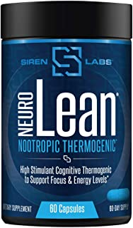 Siren Labs Neuro Lean Thermogenic Fat Burner - Concentrated Nootropic Enhancing for Health, Water Loss, Increase Fat Burni...