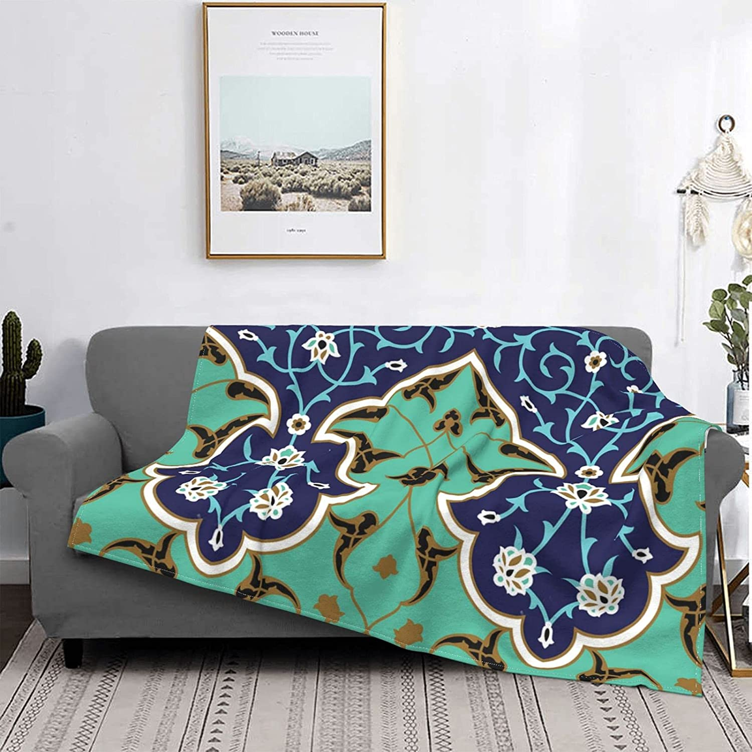 Easy-to-use Disyoya Throw Blanket Decor Floral Max 61% OFF Pattern Bed Soft Ligh