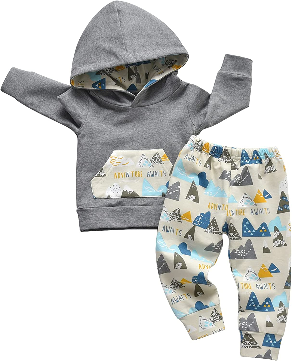 Toddler Baby Boys Cartoon Little Bear Long Sleeve Hoodie Tops Pants Outfit Clothes Set