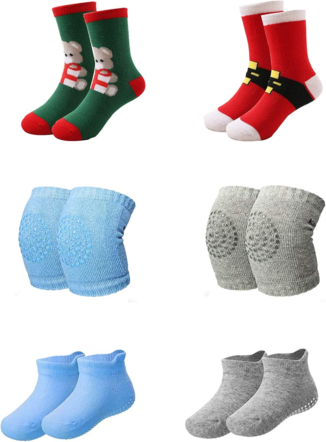Baby Non Slip Grip Ankle Socks with Non Skid Soles with 2 Pairs Christmas Socks,2 pairs Anti Slip Leg Warmers Kids Kneepads