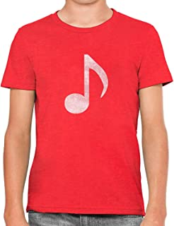 Austin Ink Apparel Little White Music Note Soft Kids Unisex Boys Cotton T-Shirt
