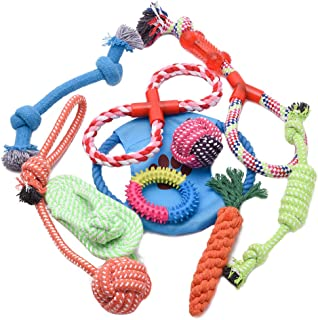 PetInn 10Pcs Puppy Dog Pet Rope Toys Set Teething Chew Toys For Small to Medium Dogs