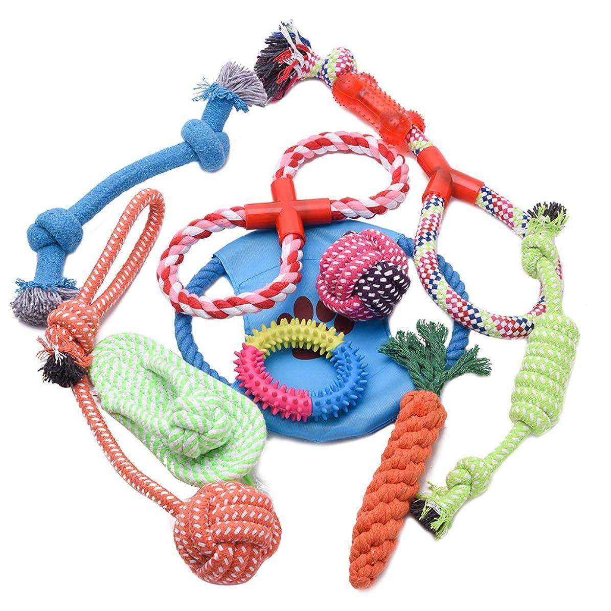 真空意味する浸すWOLFWILL 清潔-10個セット ペットおもちゃ 噛んでも大丈夫 ロープ ぬいぐるみ 玩具 耐久性 安全 歯ぎしり